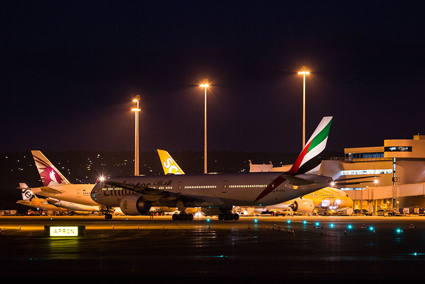 On the airfield image 1 - Emirates' A380 taxiing to gate