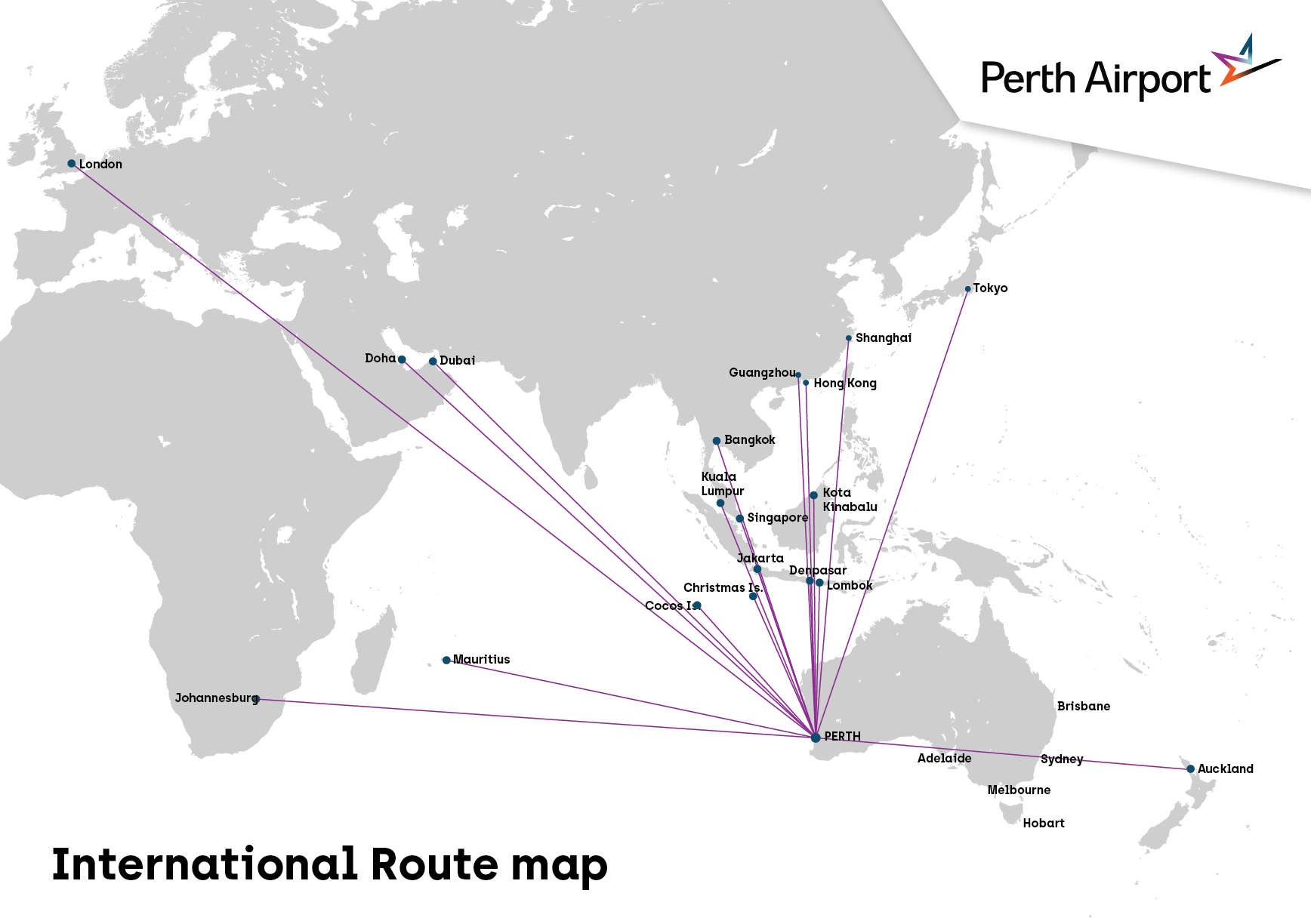 International routes available from Perth Airport