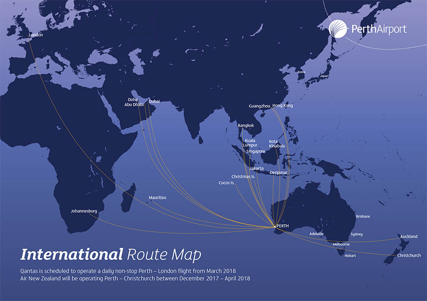 Perth airport passengers route maps domestic routes available from perth airport international routes available from perth airport gumiabroncs Image collections